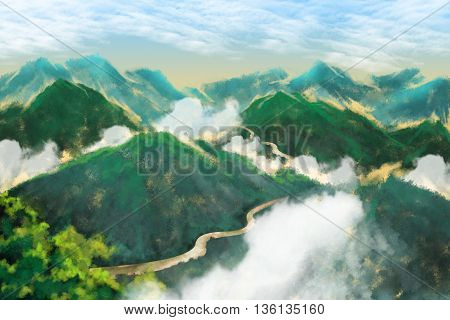 Watercolor Style Digital Artwork: Green Mountains and Roads. Realistic Fantastic Cartoon Style Character, Background, Wallpaper, Story, Card Design