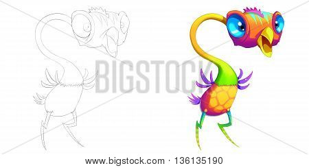 Coloring Book and Monster Creature Character Design Set 48 Ostrich Bird Head Creature Monster isolated on White Background Realistic Fantasy Cartoon Style Character Story Card Sticker Design