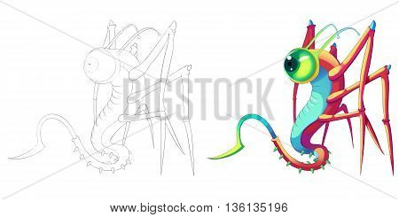 Coloring Book and Monster Creature Character Design Set 49 Snake Locust Mantis Insect Creature Monster isolated on White Background Realistic Fantasy Cartoon Style Character Story Card Sticker Design