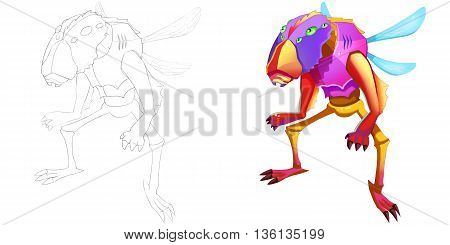 Coloring Book and Monster Creature Character Design Set 50 Scary Longhorn Beetle Man Creature Monster isolated on White Background Realistic Fantasy Cartoon Style Character Story Card Sticker Design