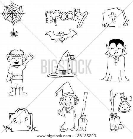 Halloween flat doodle vector art with hand draw