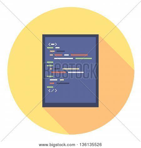 Code Editor Screen Flat Style Design Icon