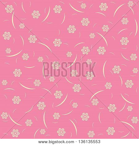 Vintage floral pattern on pink background. Cute flowers.