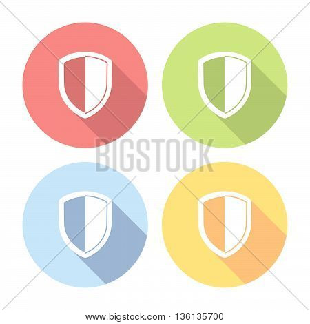 Shield Guard Emblem Flat Icons Set