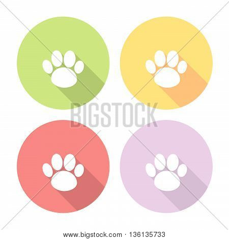 Animal Pet Footprint Flat Icons Set
