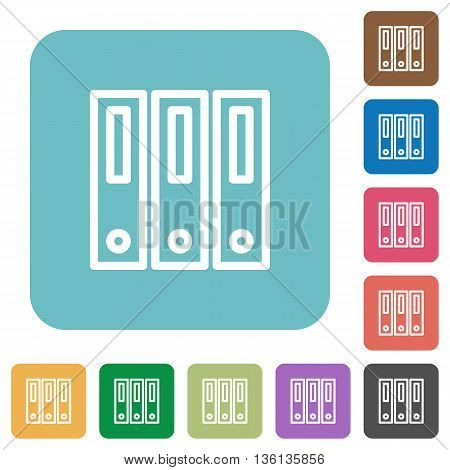 Flat binders icons on rounded square color backgrounds.