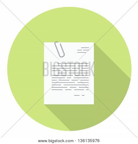 Office Document With Paper Clip Flat Icon