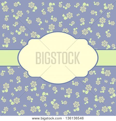 Vintage greeting card. Pastel floral template for greeting card and wedding invitation.