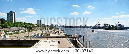 Hamburg Germany - May 24 2008: Hamburg harbor - panorama street Grosse Elbstrasse on the left container terminal / Norderelbe on the right.