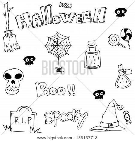 Hand draw flat Halloween doodle vector art