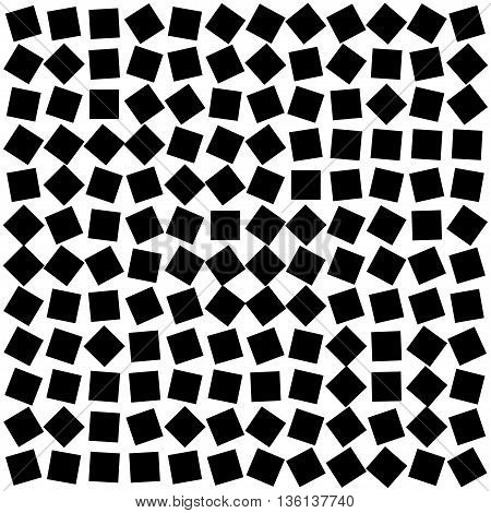abstract background from randomly oriented black squares. Stock vector illustration