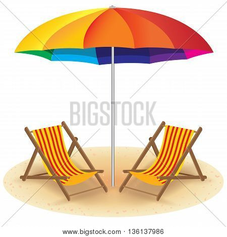Wooden chairs and beach umbrella on the beach. Summer Beach on white Background.