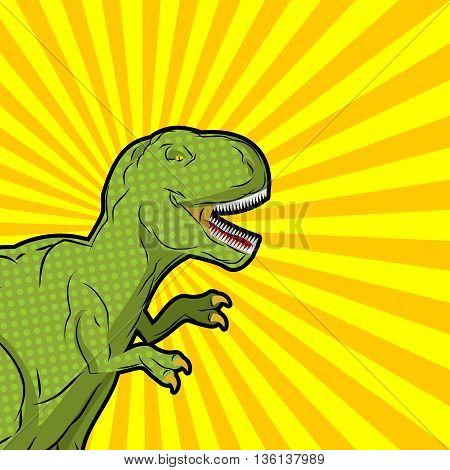Tyrannosaurus Pop Art Style. Angry Prehistoric Reptile. Ancient Animal Predator. Aggressive Raptor J