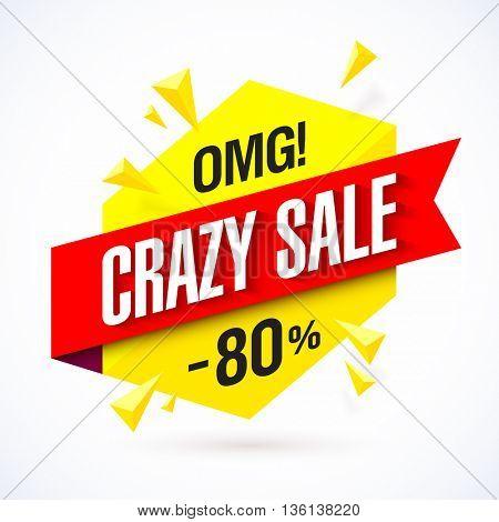 Crazy Sale poster, banner background, big sale.