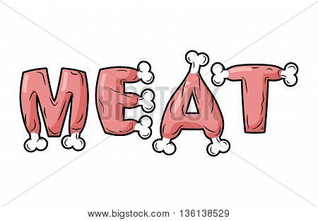 Meat Lettring. Steak On Text Of Bones. Pork Typography. Beef Letters. Fresh Ham Letters Set. Ham And