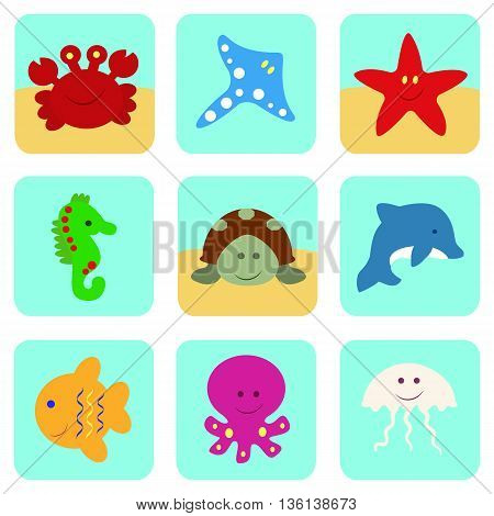 Vector icons set with sea and ocean cartoon characters