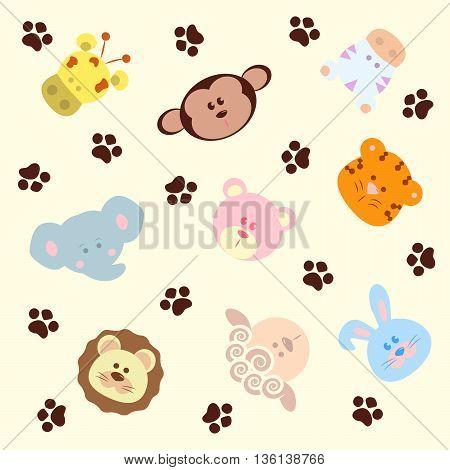 Seamless pattern animals, vector background, cartoon fauna.