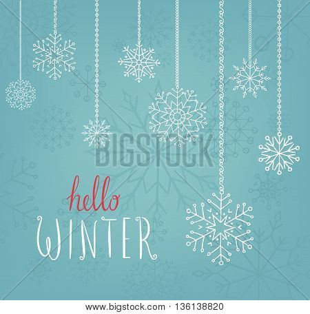 Hello winter text. Vector Brush lettering Hello Winter. Vector card design with custom calligraphy. Winter season cards, greetings for social media