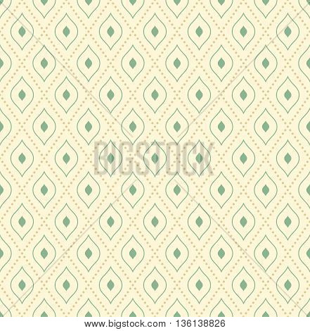Geometric repeating ornament with green shapes and diagonal golden dotted lines. Seamless abstract modern pattern