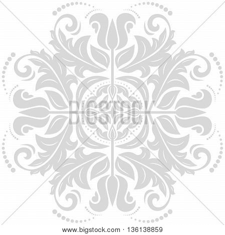 Oriental light silver pattern with arabesques and floral elements. Traditional classic ornament