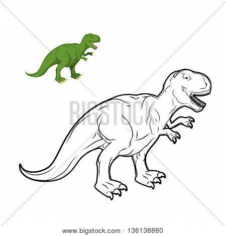 Tyrannosaurus Rex Dinosaur Coloring Book. Prehistoric Reptile Linear Style. Ancient Predator. Animal