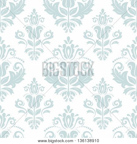 Seamless oriental light blue ornament in the style of baroque. Traditional classic pattern