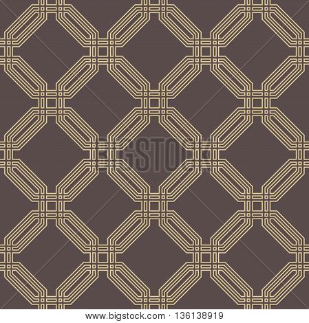 Geometric fine abstract octagonal brown and golden background. Seamless modern pattern