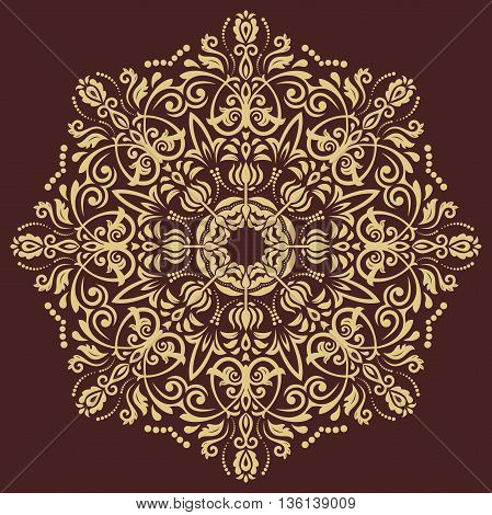Elegant golden ornament in the style of barogue. Abstract traditional pattern with oriental elements