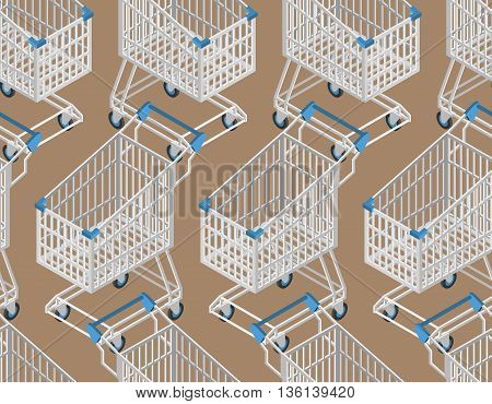 Shopping Cart Seamless Pattern. Supermarket Shopping Trolley Background