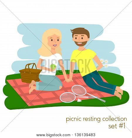 Young couple on picnic together. Family picnic vacation. Summer happy lifestyle park outdoors. Vector illustration