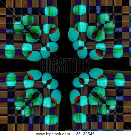 Abstract geometric and symmetric colorful design against a dark background