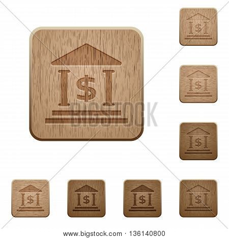 Set of carved wooden dollar bank buttons in 8 variations.