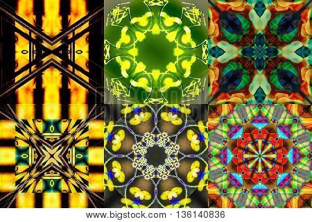 Collage of 6 abstract geometric and symmetric colorful background