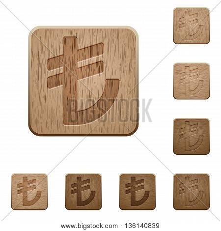 Set of carved wooden Turkish lira sign buttons in 8 variations.