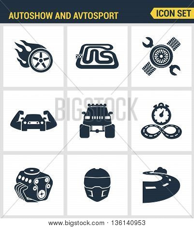 Icons set premium quality of autoshow and avtosport monster truck engine car racing rally muscle car. Modern pictogram collection flat design style symbol collection. Isolated white background.