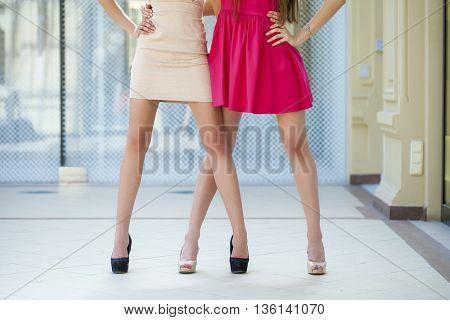 Two fashion female dress, body beauty models