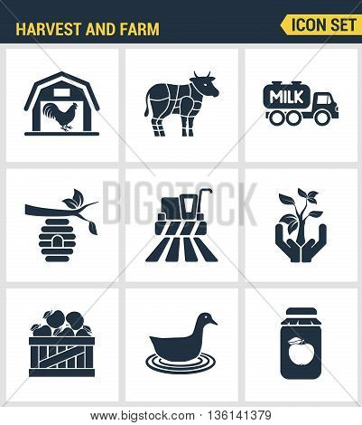 Icons set premium quality of harvest and farm agriculture agronomy business. Modern pictogram collection flat design style symbol collection. Isolated white background.