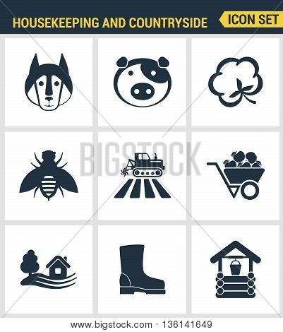 Icons set premium quality of housekeeping and countryside industry agronomy agriculture. Modern pictogram collection flat design style symbol collection. Isolated white background.