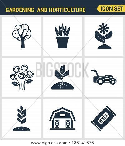 Icons set premium quality of gardening and horticulture seeds flower floral flora. Modern pictogram collection flat design style symbol collection. Isolated white background.