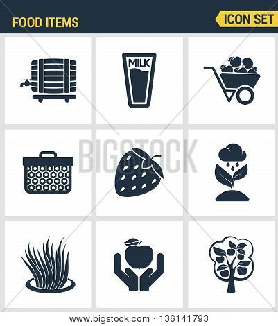 Icons set premium quality of food Items business industry farm products plant fruit. Modern pictogram collection flat design style symbol collection. Isolated white background.