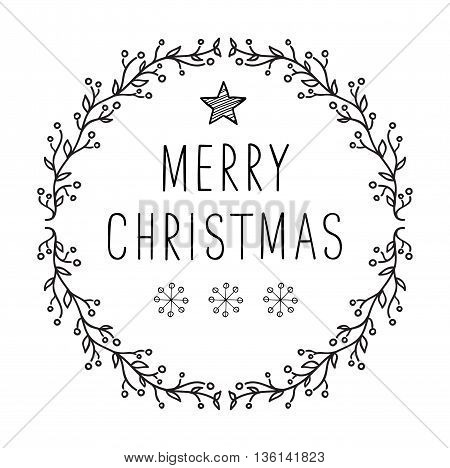 Merry Christmas text- lettering design with snowflakes