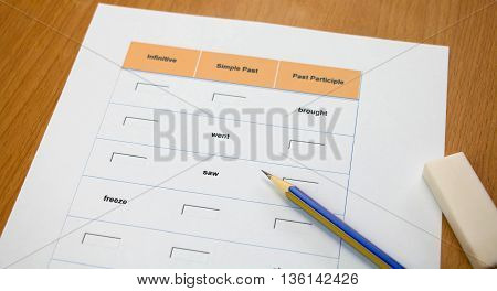 english exercise and pencil on table represent testing english grammar