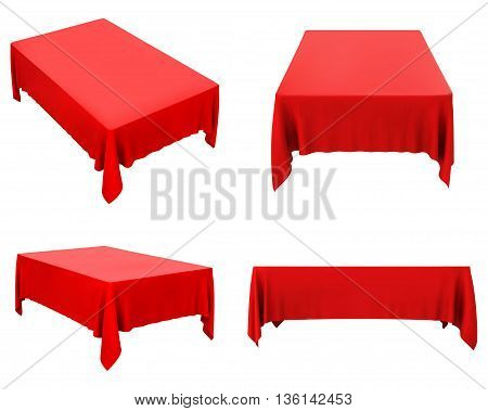 red tablecloth set isolated on white, vector illustration.