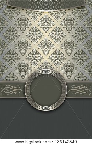 Decorative background with vintage floral patternselegant border and frame.