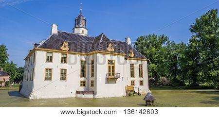 SLOCHTEREN, NETHERLANDS - JUNE 3, 2016: Panorama of old dutch mansion Fraeylemaborg in Slochteren, Holland