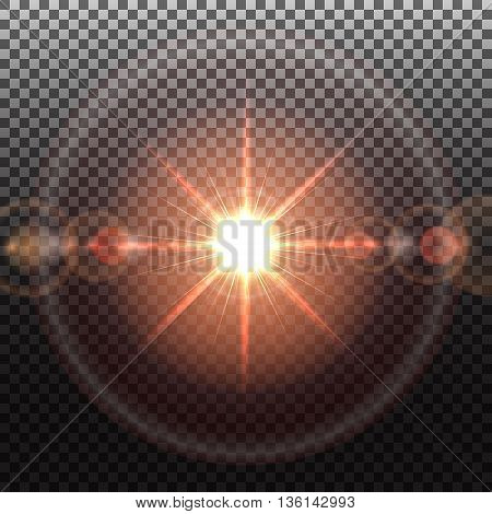 Solar flare, special effect of bright star, glowing burst, transparent shine light effect, illustration.