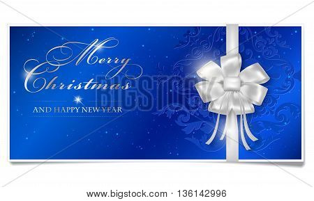 Merry Christmas and Happy New Year card with shiny silver bow. Blue Merry Christmas voucher with place for your text. Happy New Year card with shines dots and floral ornament. Christmas paper wish isolated on white background. Vector illustration.