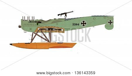 Fighter Hydroplane time of World War I Hansa-Brandenburg W. 29