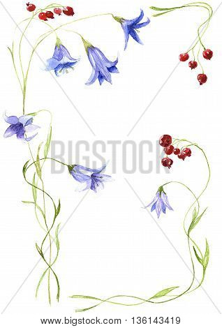 Composition from blue handbells and bright ripe currant. Fantasy pattern. Watercolor.