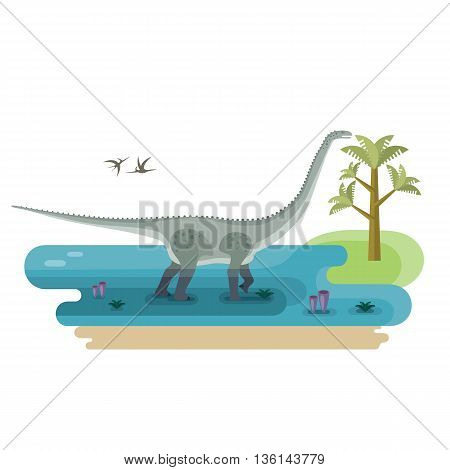 Giant Diplodocus. Prehistoric immense herbivore dinosaur. Pristine landscape. Extinct animal. Small location useful for map or game. Flat vector illustration.